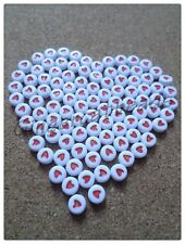 50 x Acrylic Flat Round Beads - Red Hearts - 7mm