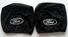 2x Black Headrest Covers for FORD All models