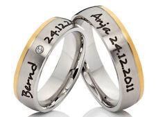 2 Anillos de boda compromiso pareja con gratis Grabado láser bicolor