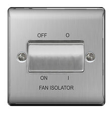 STAINLESS STEEL Fan Isolator Triple Pole Switch Brushed Satin SLIMLINE - NBS15