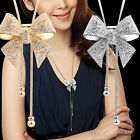 Crystal Bowknot Pendant Long Necklace Rhinestone Butterfly Sweater Chain New