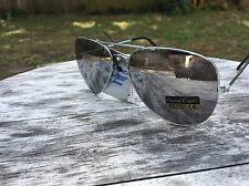 Aviator Sunglasses Large Reflective Silver Mirro Lenses Silver Frame