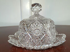 Vintage/Antique AMERICAN BRILLIANT ABP CUT CRYSTAL GLASS CHEESE/BUTTER DOME