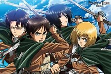 24x36 Attack on Titan Anime Hero Four Swords Poster Shrink Wrapped