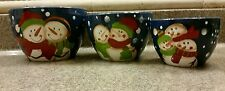 ceramic pottery nesting mixing bowls hand painted snowman Christmas Celebration