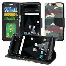 LG Aristo Design Wallet Credit Card ID Kick Stand Flip Phone Case Cover MS210