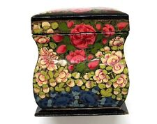 HAND PAINTED PLAYING CARD HOLDER HOLDS 2 DECKS  *  FLOWERS PAPER MACHE? WOOD?