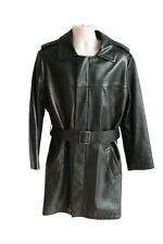 JITROIS Mens Long Black 100% Lambskin Leather Coat Jacket - FR 52 (EU 52 UK 42)