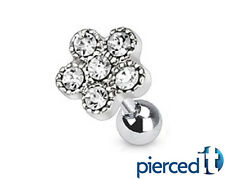 FLOWER PAVE CZs EAR PIERCING CARTILAGE CUFF CONCH HELIX TRAGUS RING 16g