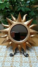 "12"" Sunshine WALL MIRROR - Matte Gold Painted Resin"