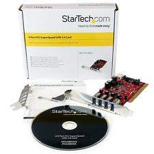 NEW Startech PCIUSB3S4 4 Port PCI SuperSpeed USB 3.0 Adapter Card with SATA/SP4