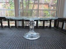 Vintage Indiana Teardrop Pedestal Footed Cake Plate Stand Clear Glass