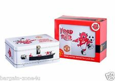 Manchester United Fred the Red White Metal Kids School Boys Lunch Bag Box