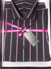 BAUMLER 16in Tailored Fit Luxury Cotton Shirt in Box Black with Purple stripe