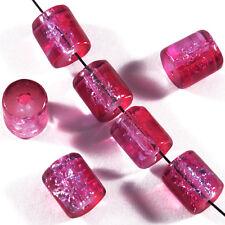 30 perles craquelées en verre Tubes 7 x 8 mm Fuchsia