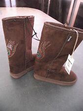 BNWT Little Girls Sz 12 Rivers Doghouse Long Chocolate/Sequins Slipper Boots