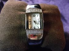 Woman's Quartz Cuff Watch with Crystals and Mother of Pearl Face**Nice** B29-578