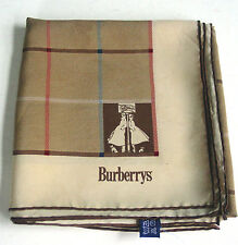 VINTAGE BURBERRY SIGNED WOMEN'S 100% SILK SCARF/HAND-ROLLED/ITALY/Minor Stain EX