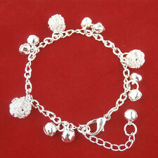 Girls Fashion Shine Silver Plating Bell Ball Bracelet Anklet Gifts Simple