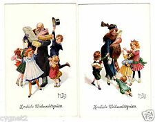 POSTCARDS (2) THIELE SIGNED CHILDREN GETTING CHRISTMAS GIFTS
