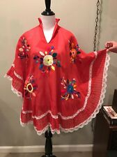 �� VTG Caftan Peasant Huipil Ethnic Lace Boho Goddess Dress Mumu Gypsy Cape ��