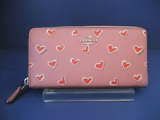 NWT Coach Accordion Zip Wallet in Heart Print Coated Canvas 53885 Silver/Pink