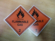 "100mm ""Flammable Gas""  decals stickers x  2 Van 