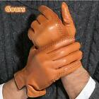 Winter Men's Genuine Leather Gloves Touch Screen Driving Goatskin Mittens