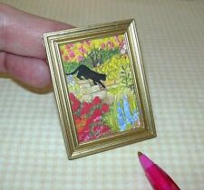 Miniature Garden Sleuth Colorful Cat Picture: DOLLHOUSE Miniatures 1/12 Scale
