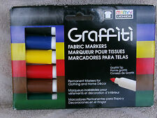 Marvy Uchida Graffiti Farbic Markers-Primary Colors, 6-Pack ~ NEW