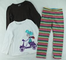 GAP Girls Outfit Brown & Graphic Shirts Striped Legging Pants Size 4 Years