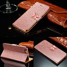 Bling Glitter Leather Case Magnetic Flip Wallet Cover For iPhone Samsung Galaxy