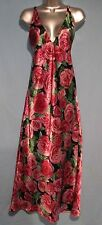 Frederick's of Hollywood Floral Red Rose Long Satin Nightgown (S) NWOTS