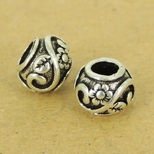 2 PCS 925 Sterling Silver Beads Vintage Leaf Flower Jewelry Making WSP509X2