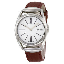 Gucci Horsebit White Dial Brick Red Leather Strap Medium Ladies Watch YA140403