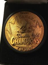 Team Canada Olympics gold double gold hockey puck 2002