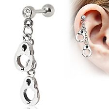 HANDCUFFS Dangle TRAGUS CARTILAGE Studs Fashion Ear Rings Body Piercing Jewelry