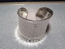 Hammered Wide Cuff Silver Plated 925 Sterling Silver Handcrafted Bracelet