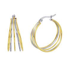 Stainless Steel Two Tone Multi Hoop Earrings