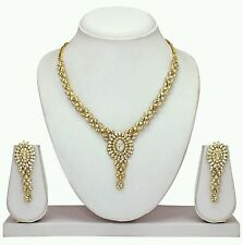 Indian Ethnic Designer Antique Gold Plated Diamond Necklace Earring Jewel Set