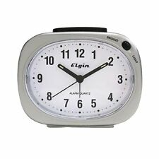 Elgin Snooze Lighted Dial Silver Tone Analog Alarm Clock 3640E