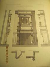 Planche Hôtel de Mr Le Comte de Marnix Bruxelles cheminée grand salon 1895