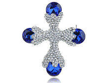 Beautiful Capri Blue Clear Crystal Rhinestone Silver Tone Cross Shape Pin Brooch