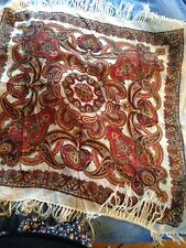 Vintage Fine Wool shawl scarf square in cream with red/multi Paisley.