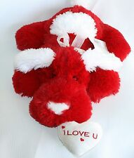 "Goffa Intl Red White I Love U 18"" Stuffed Plush Puppy Dog Squishy Floppy Lovey"