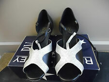 Black and Silver Roch Valley Francesca ballroom/latin dance shoes - size UK 3.5
