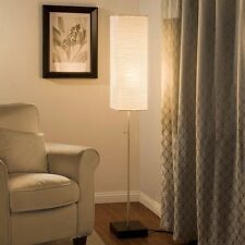 Modern Decor Floor Lamp Beige Paper Shade Lighting Faux Wood Base Stand