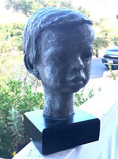 Signed Mid Century Sculpture Head Bust Of A Boy Child 1973 OOAK BIN