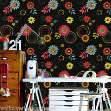 Black, Pink, Yellow, Orange, Green & Blue, Retro Floral Design Wallpaper by P&S