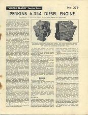 Perkins 6-354 Diesel Engine Motor Trader Service Data No. 379 1961